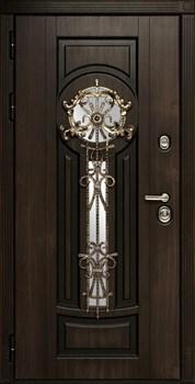 Входная уличная дверь Византия с окном и ковкой (Алмон 28 / Белый) - фото 21179