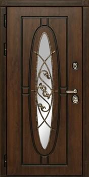 Входная уличная дверь СУДАРЬ Монарх с окном и ковкой (Дуб темный / Дуб темный) - фото 21228