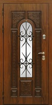 Входная металлическая дверь Сударь Рим с окном и ковкой (Голден Оак Винорит) - фото 21300