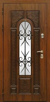 Входная уличная дверь Сударь Рим с окном и ковкой (Голден Оак Винорит / Алмон 25) - фото 21313