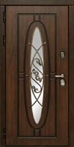 Входная уличная дверь СУДАРЬ Монарх с окном и ковкой (Дуб темный / Дуб темный)