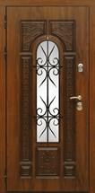 Входная металлическая дверь Сударь Рим с окном и ковкой (Голден Оак Винорит)